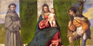 Tiziano Vecellio, Madonna col Bambino tra Sant'Antonio da Padova e San Rocco, c.1510, Madrid, Museo del Prado, inv.288, olio su tela, cm 92 x 133