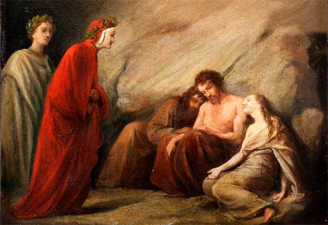 Adeodato Malatesta, Dante incontra Sapìa nel Purgatorio , 1839 ca., olio su tela, cm 26,5 x 33,5, Modena, collezione privata