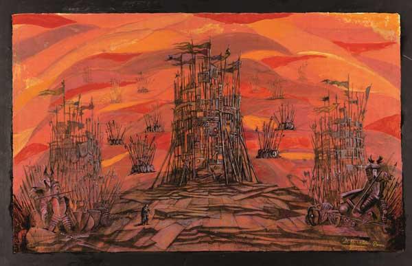 Zeffirelli - Bozzetto per atto III, scena II de Il Trovatore di Giuseppe Verdi, Arena di Verona, 2001