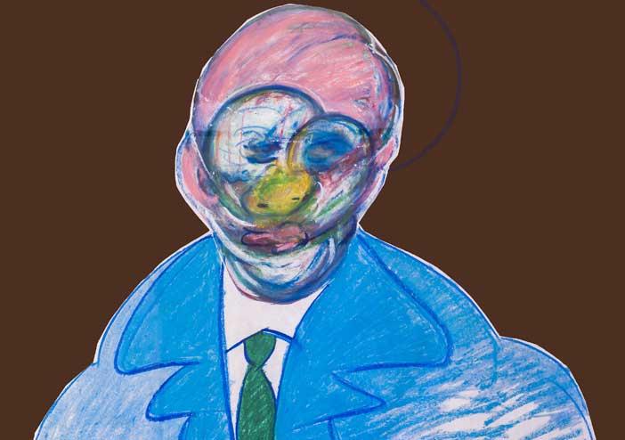 Francis Bacon, Figura in piedi, 1977-1992, pastello e collage su carta
