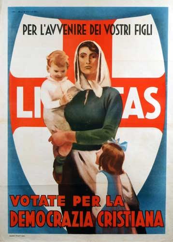 Manifesto DC e Comitati Civici 1948, Disegnato da Marcello Dudovich - Manifesti elettorali