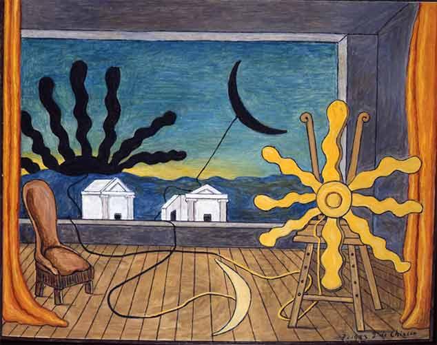 Giorgio de Chirico, Sole sul cavalletto, 1973, olio su tela, 64,5x81