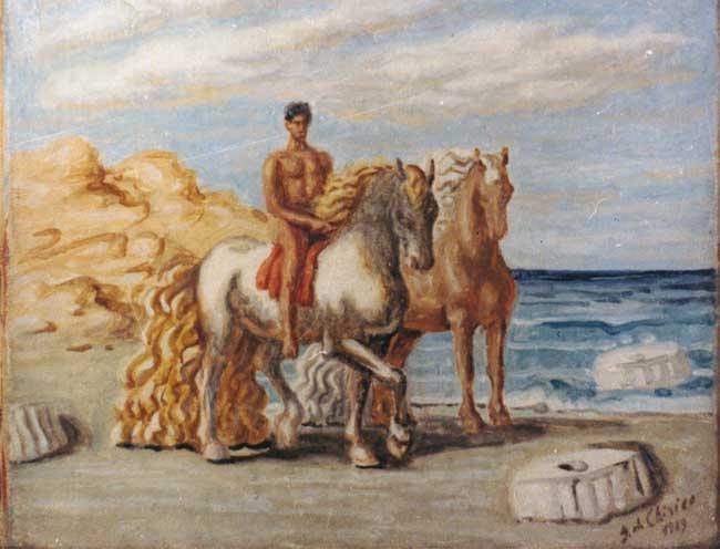 Giorgio De Chirico, Cavalli e rovine sulla spiaggia, Olio su tela, cm.40x50, 1929