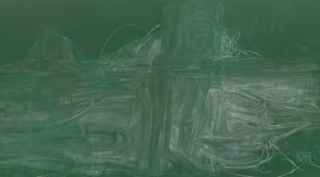 ©  Rita  Ackermann, Meditation  on  Violence  I, 2014 , Acrylic,  spray  paint  and  chalk  on  canvas