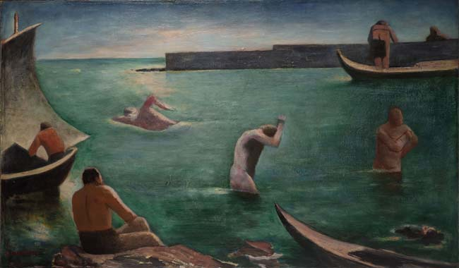 Carlo Carrà, I Nuotatori 1932, Oil on canvas, cm 63,5 x 108,5, Augusto e Francesca Giovanardi Collection