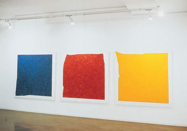 Pino Pinelli, Pittura BL. R. G., 1973 acrilico su tela, 150 x 150 cm (ciascuno)