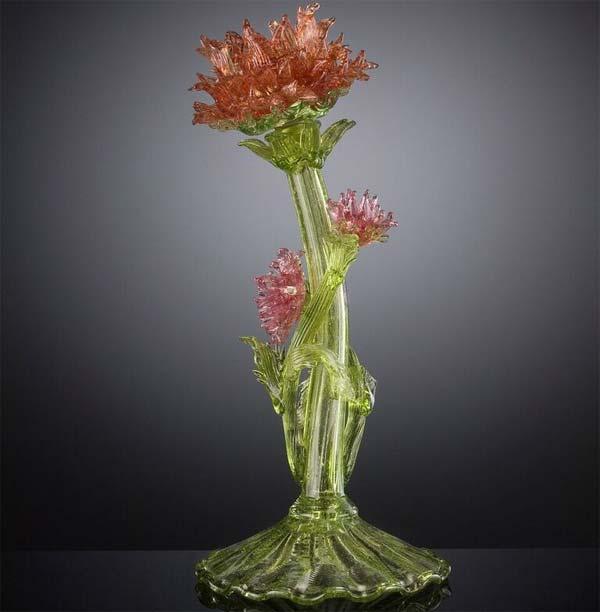 F.lli Toso, 1900-1920 Lampada da tavolo con stelo a fiore 37X18 - collezione Bersellini