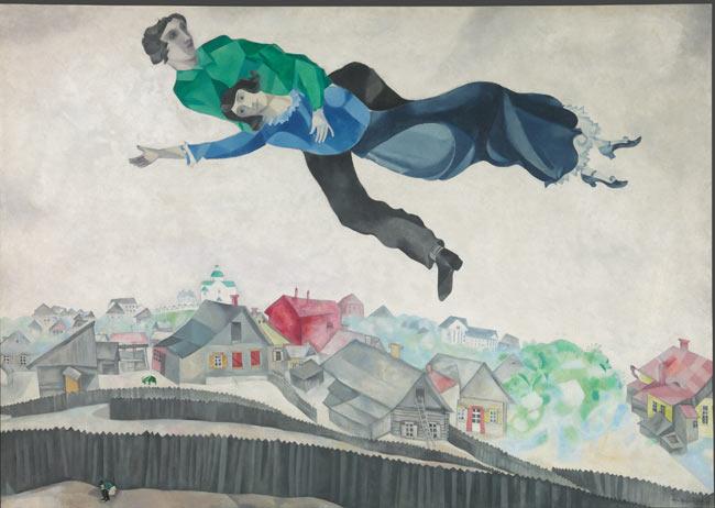 Marc Chagall, Sopra la città, 1914/1918, olio su tela , 139 x 197 cm, Galleria di Stato Tretjakov di Mosca © The State Tretyakov Gallery, Moscow, Russia, © Chagall ®, by SIAE 2018