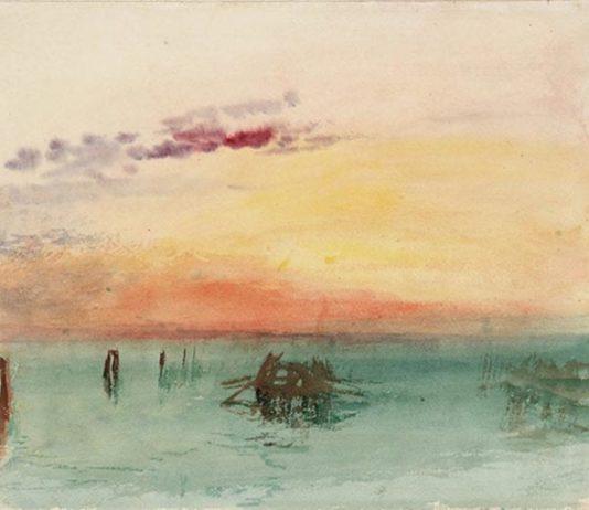 Turner, Venezia: veduta della Laguna al tramonto, 1840, acquarello su carta