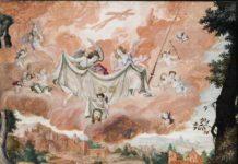 Antonino Parentani (doc. in Piemonte dal 1599 al 1622), Sindone presentata da angeli, la Veronica e i simboli della Passione, tempera su pergamena, mm 370x503, Castello di Racconigi