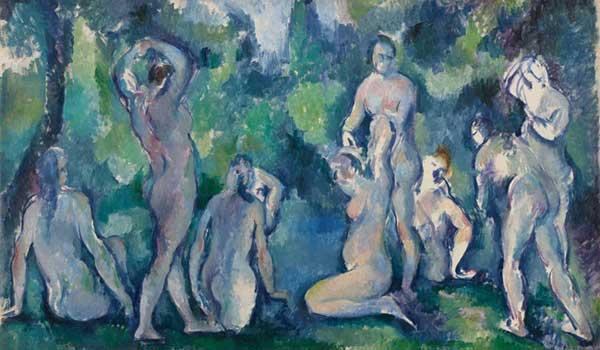 Paul Cézanne: Bagnanti, 1895 ca. Olio su tela, 47x77 cm. © Ordrupgaard, Copenhagen. Photo: Anders Sune Berg - Mostra Gauguin e gli Impressionisti