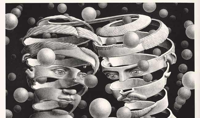 Maurits Cornelis Escher Vincolo d'unione Aprile 1956 Litografia, 25,3x33,9 cm Collezione privata, Italia All M.C. Escher works © 2018 The M.C. Escher Company. All rights reserved