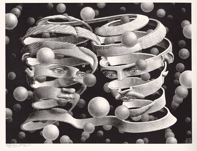 Maurits Cornelis Escher, Vincolo d'unione, Aprile 1956, Litografia, 25,3x33,9 cm, Collezione privata, Italia, All M.C. Escher works © 2019 The M.C. Escher Company. All rights reserved, www.mcescher.com