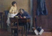 Giacomo Favretto, Dopo il viaggio, olio su tela, 26,5 x 29 cm, collezione privata