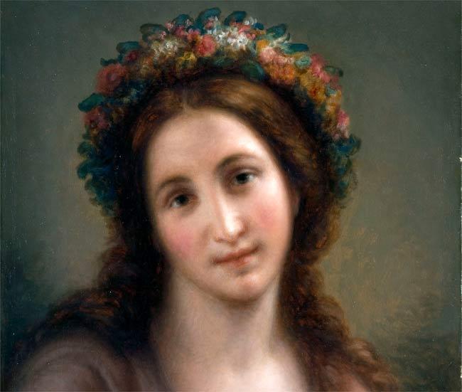 """Giovanni Carnovali detto il Piccio, Flora, 1871, Olio su tela, 54 x 44 cm, Collezione privata - Mostra """"Ottocento lombardo"""""""