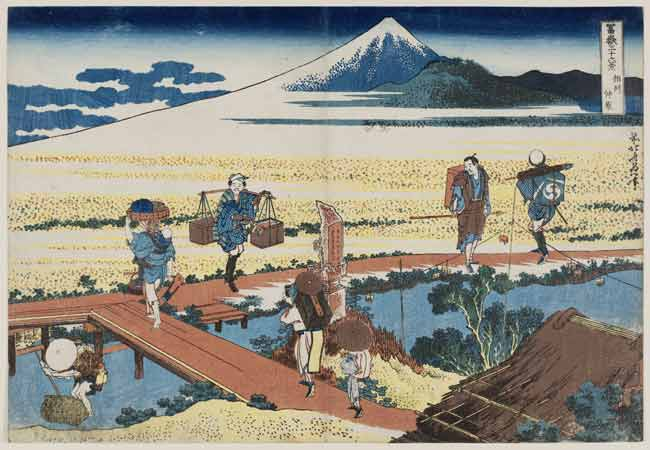 Katsushika Hokusai, Nakahara nella provincia di Sagami dalla serie Trentasei vedute del monte Fuji 1830-31, silografia policroma, 25.4 x 36.8 cm, Museum of Fine Arts, Boston - William Sturgis Bigelow Collection