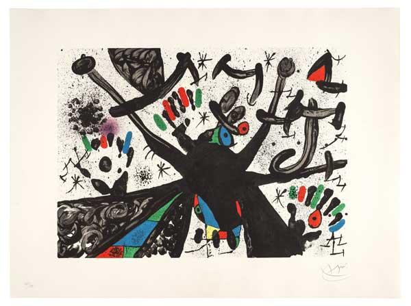 Joan Miró, Homenatge a Joan Prats n 3, litografia a colori su carta a mano Guarro, 1971