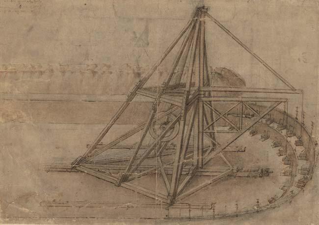 Leonardo da Vinci, Scavatrice di canali, Codice Atlantico, f. 3 r., Biblioteca Ambrosiana, Milano - Mostra a Firenze dedicata al Codice Leicester