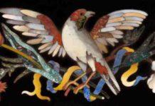 Manifattura granducale, Formella con uccello e fiori, inizi XVIII secolo, commesso di pietre dure, Firenze, Museo dell'Opificio delle Pietre Dure