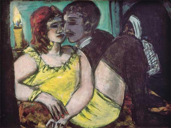 Max Beckmann, Gli amanti (verde e giallo), 1940-1943, olio su tela, 60 x 80 cm, Museum Ludwig, Köln/Legat Lilly von Schnitzler-Mallinckrodt, Ankauf 1957, © 2018, ProLitteris, Zurich