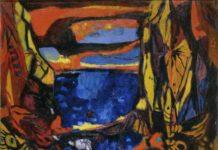 Enrico Paulucci, Genova, 1901 – Torino, 1999, Il mare tra le rocce, 1957, olio su tela, 100 x 120 cm, GAM – Galleria Civica d'Arte Moderna e Contemporanea, Torino - Dono Enrico Paulucci alla Fondazione Guido ed Ettore De Fornaris, Torino, 1986