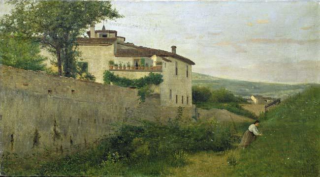 Silvestro Lega - Una veduta in Piagentina 1863 - Mostra I Macchiaioli