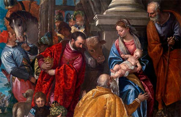 Paolo Caliari detto il Veronese (Verona 1538 – Venezia 1588), Adorazione dei Magi, Olio su tela, cm 320 x 234, Vicenza, chiesa di Santa Corona
