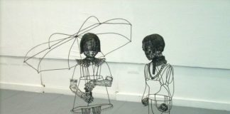 Roberto Fanari, Domenica Mattina, gruppo dimensioni ambiente, filo di ferro cotto, 2010