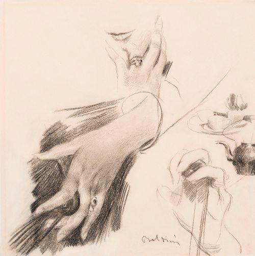 Giovanni Boldini, Studio di mani, 1890-1899, Matita su carta, 330 x 330 mm