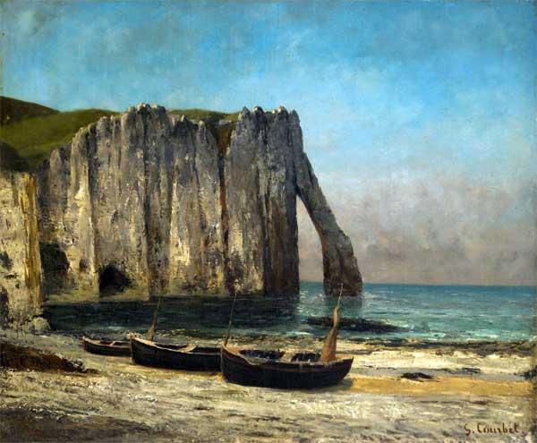 """Gustave Courbet, La scogliera a Etretat ,1869, olio su tela, cm 63 x 76 - Mostra """"Da Monet a Bacon"""""""