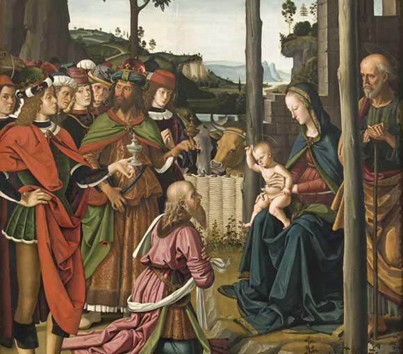 Perugino, Adorazione dei Magi, particolare