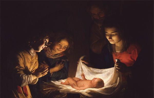 Gerrit van Honthorst, detto Gherardo delle Notti, Adorazione del Bambino, 1619-1620ca., Olio su tela, Firenze, Gallerie degli Uffizi, Galleria delle Statue e delle Pitture
