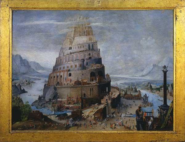 Ambito di Abel Grimmer, (Anversa 1570 ca.-1620 ca.), La Torre di Babele, Fine del secolo XVI – inizio del secolo XVII, Olio su tavola, cm 49,9x66,5, Siena, Pinacoteca Nazionale, Inv. 534 - Mostra Una città ideale