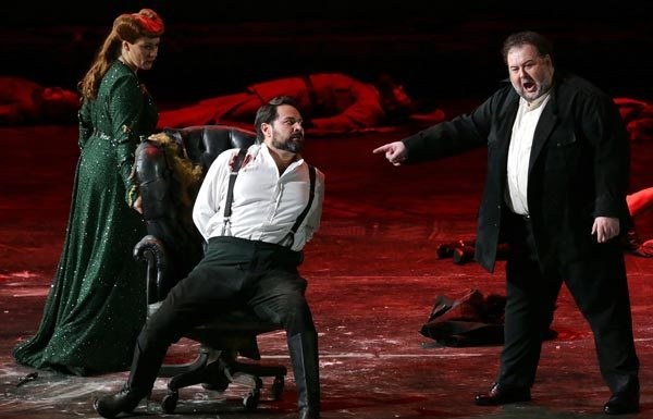 Saioa Hernández, Ildar Abdrazakove Fabio Sartori nell'opera Attila di Giuseppe Verdi