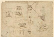 Leonardo da Vinci (1452-1519), Codice Atlantico (Codex Atlanticus), foglio 1069 recto. A sinistra, tubo munito di galleggiante per consentire la respirazione subacquea; macchine per sollevare, pompare e raccogliere acqua; in alto a destra, due lunghe coclee per trasportare l'acqua del fiume verso due torri; in basso a sinistra, secchio con sifone. Copyright Veneranda Biblioteca Ambrosiana/Mondadori Portfolio