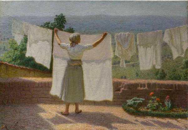 Angelo Morbelli: Distendendo panni al sole