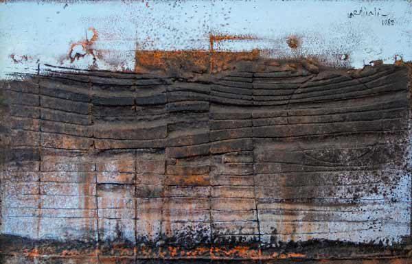 Franco Cardinali, Chant d'amour sur la falaise, 1985, olio caseina e sabbia su tela, cm 90x110, ph. Luca Maccotta