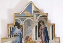 Piero della Francesca, Annunciazione della Vergine Maria, 1467 - 1468, (Cimasa del Polittico di Sant'Antonio), Tempera su tavola, 122x194 cm, Perugia, Galleria Nazionale dell'Umbria