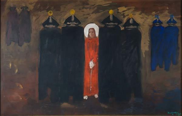 Aldo Carpi, L'arresto di Gesù, 1951, tecnica mista su tela, 121x60, Milano, GASC