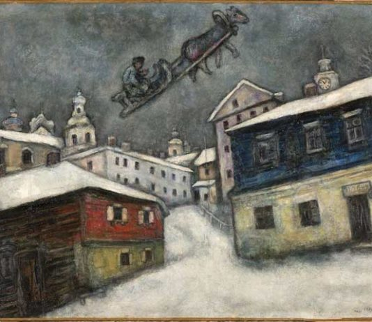 Marc Chagall, Villaggio russo, 1929 , Olio su tela, 73x92 cm, Private Collection, Swiss © Chagall®, by SIAE 2019