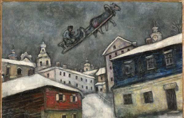 Marc Chagall, Villaggio russo, 1929 , Olio su tela, 73x92 cm, Private Collection, Swiss © Chagall®, by SIAE 2019