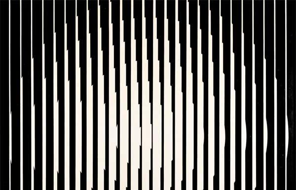 Franco Grignani, Vibrazione induttiva, 1965, olio su tela, 96 x 96 cm, Collezione privata, © Matteo Zarbo