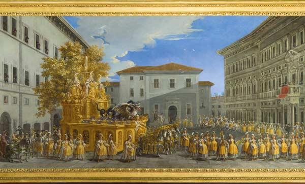 Johann Paul Schor (Innsbruck 1615 - Roma 1674), Il corteo del principe Giovan Battista Borghese per il Carnevale di Roma del 1664, 1664, olio su tela, Gallerie degli Uffizi, Firenze