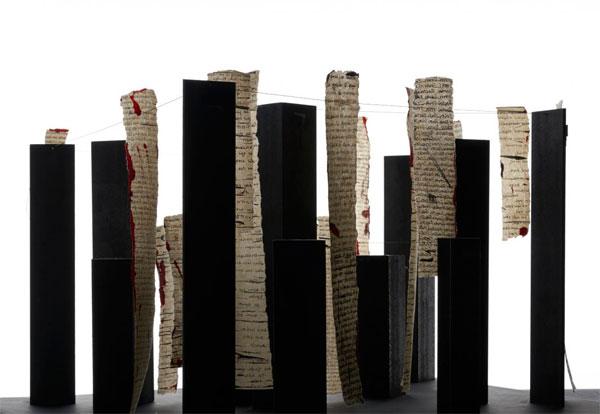 Venia Dimitrakopoulou, Dialoghi, 2019, installazione, acciaio e inchiostro indiano su carta cinese, dimensioni variabili