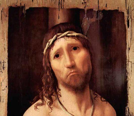 Antonello da Messina, Ecce Homo,1475, olio su tavola (rovere?), 48,5 × 38 cm (la parte dipinta 43 x 32,4 cm), Collegio Alberoni, Piacenza - Crediti fotografici: ©2018. Foto Scala, Firenze