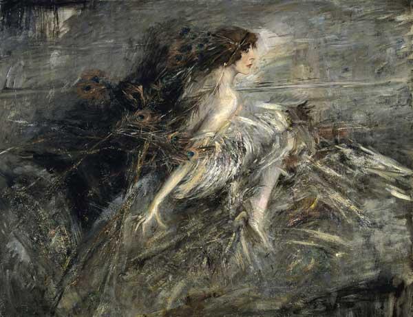 Giovanni Boldini: La marchesa Casati con piume di pavone, 1911-13, Olio su tela, cm 130 x 176, Roma, Galleria Nazionale d'Arte Moderna e Contemporanea