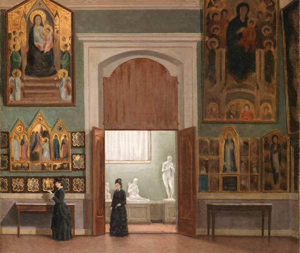 Odoardo Borrani (Pisa 1833 – Firenze 1905), Alla Galleria dell'Accademia, sec. XIX, olio su tela, Galleria dell'Accademia, Firenze