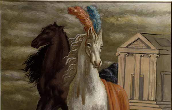 Giorgio de Chirico, Le cheval d'Agamèmnon (due cavalli sulla spiaggia), 1929, olio su tela, Collezione Merlini Busto Arsizio (Va) © Collezione Merlini Busto Arsizio (Va) © Fondazione Giorgio e Isa de Chirico, Roma