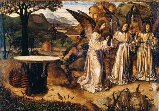 Antonello da Messina, Abramo e gli angeli, Tempera e olio su tavola, cm 21,2 x 29,3. Reggio Calabria, Pinacoteca Civica - Mostra Rinascimento visto da Sud