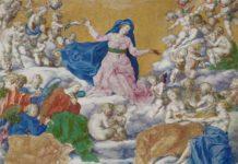 Cesare Franchi detto il Pollino, Assunzione della Vergine (particolare), ultimo quarto del XVI secolo, miniatura su pergamena, Galleria Nazionale dell'Umbria, Perugia